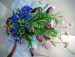 画像3: 紫のチューリップとデルフィニウムの花束 (3)