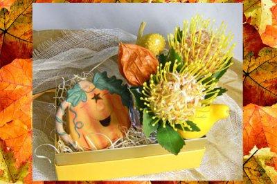 画像1: ハロウインキャンドルとアレンジのギフトセット