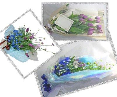 画像2: 紫のチューリップとデルフィニウムの花束
