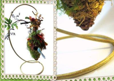 画像2: 木の実とドライフラワーのバードハウス