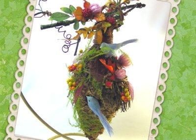 画像3: 木の実とドライフラワーのバードハウス