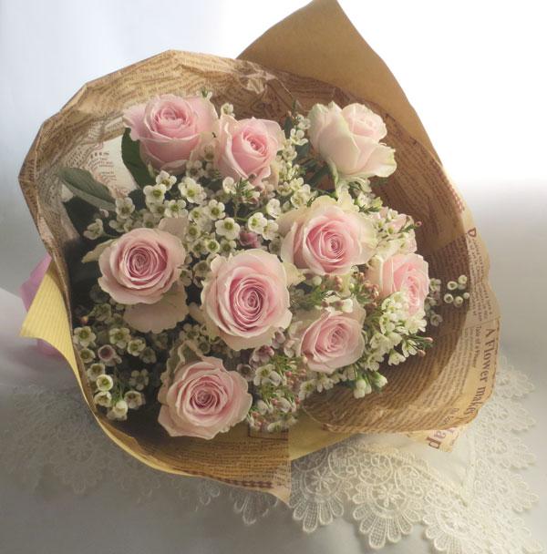 画像1: バラとワックスフラワーの花束〜Pure (1)