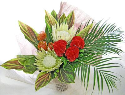 画像1: ホワイト・キングプロテアの花束 (1)