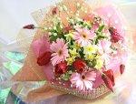 画像1: ストロベリーキャンドルと水仙の花束 (1)