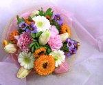 画像1: キンセンカとリューココリーネの花束 (1)