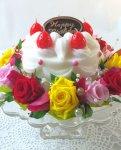 画像5: プリザーブドフラワーとキャンドルのデコレーションケーキ〜HappyBirthday (5)