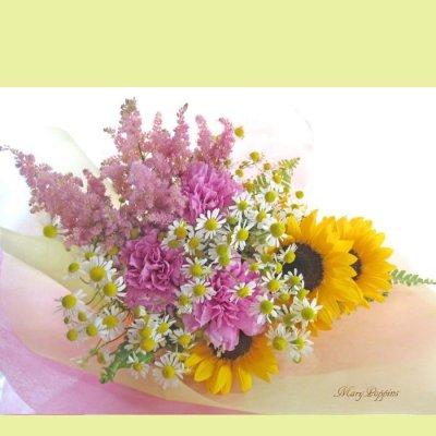 画像1: カモミールと向日葵の花束