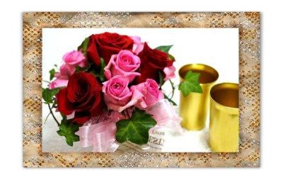 画像1: バラのアレンジメントと、ペアタンブラーのギフトセット