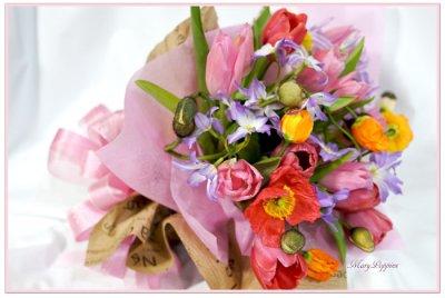 画像3: ポピーとリューココリーネの花束full of color