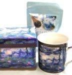 画像1: クロード・モネのマグカップと青いハーブティのギフトセット (1)