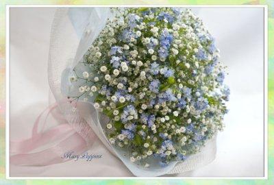 画像3: 忘れな草と、かすみそうの花束