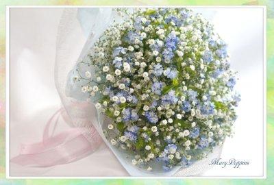 画像1: 忘れな草と、かすみそうの花束