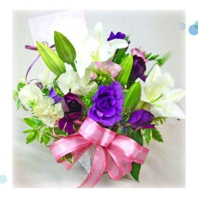 画像1: 紫の花の春のアレンジメント