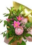 画像1: キングプロテアと百合の花束 (1)