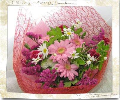 画像1: ガーベラとゼラニウムの花束