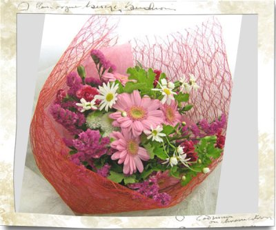 画像3: ガーベラとゼラニウムの花束