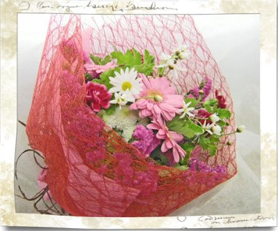 画像2: ガーベラとゼラニウムの花束