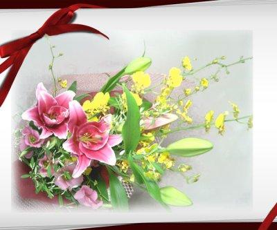 画像1: オンシジウムとピンクの百合の花束