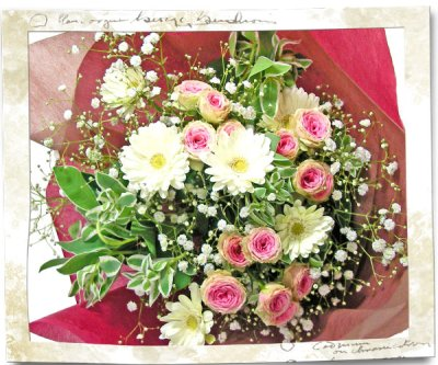 画像1: ミニバラとガーベラの花束
