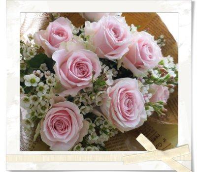 画像1: バラとワックスフラワーの花束〜Pure