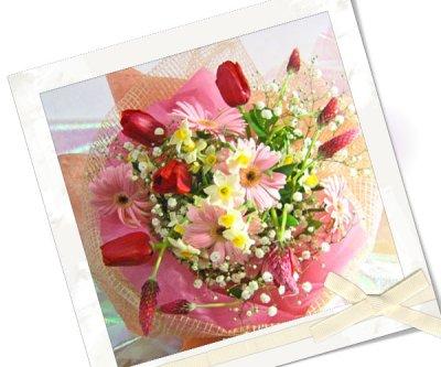 画像1: ストロベリーキャンドルと水仙の花束