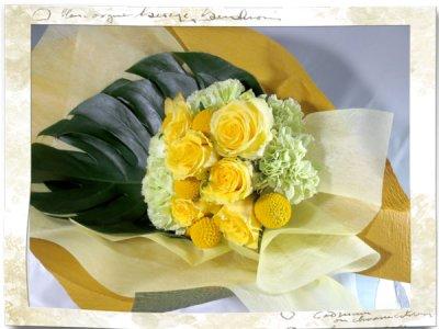 画像1: 黄色いバラの花束