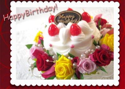 画像3: プリザーブドフラワーとキャンドルのデコレーションケーキ〜HappyBirthday
