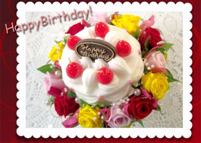 画像1: プリザーブドフラワーとキャンドルのデコレーションケーキ〜HappyBirthday