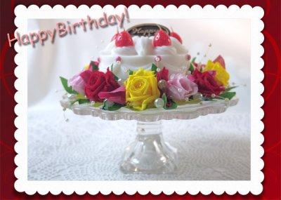 画像2: プリザーブドフラワーとキャンドルのデコレーションケーキ〜HappyBirthday