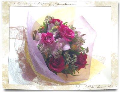 画像1: 藤袴とバラの秋の花束