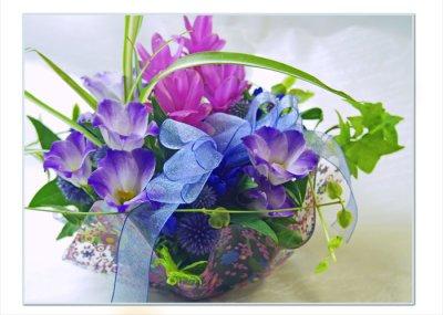 画像1: 青とピンクのサマープレートアレンジメント