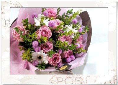 画像1: マートルとバラの花束
