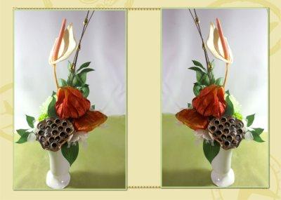 画像2: プリザーブドフラワーとホオズキ、蓮台のアレンジ