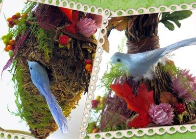 画像1: 木の実とドライフラワーのバードハウス