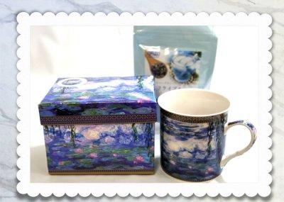 画像3: クロード・モネのマグカップと青いハーブティのギフトセット
