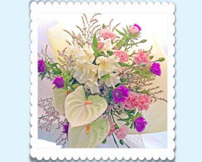 画像2: ストケシアとアンスリウムの花束
