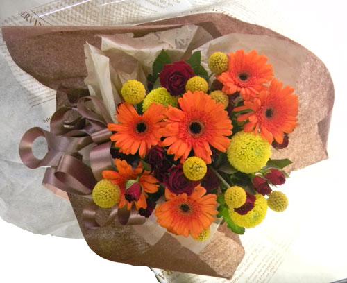 画像1: ガーベラとクラスペディアの花束 (1)