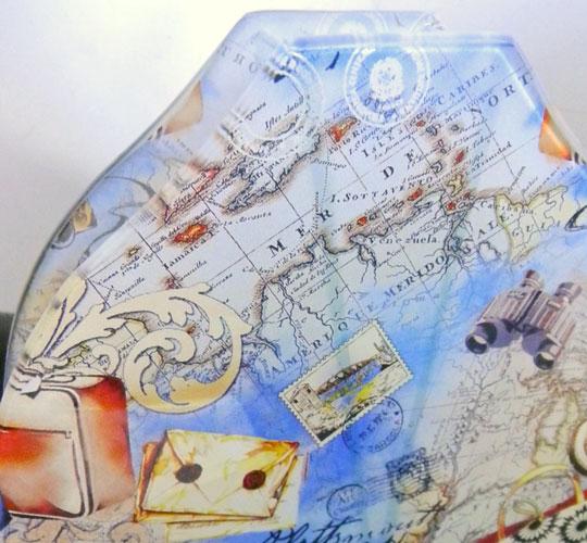 画像1: 古地図柄のガラス花器 (1)