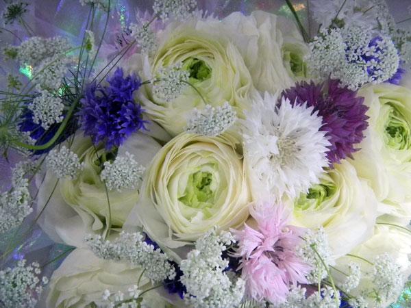 画像1: ラナンキュラスと矢車草の花束 (1)