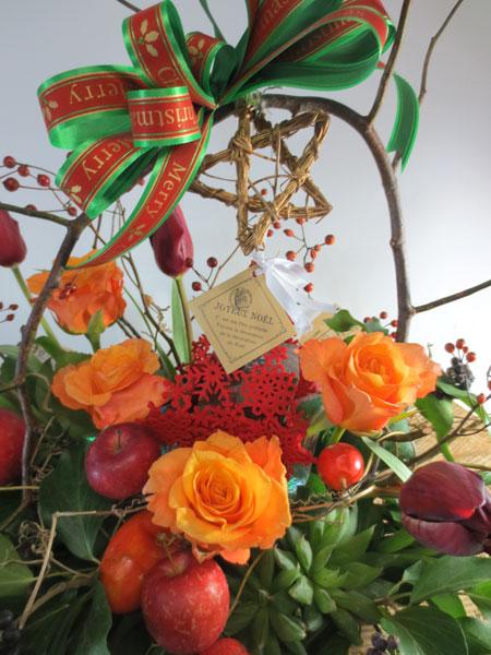 画像1: 森の香りのキャンドル付きクリスマスアレンジメント (1)