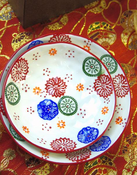 画像1: 花柄絵付け和皿のギフトセット (1)