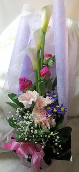 画像1: カラーと都忘れの花束 (1)