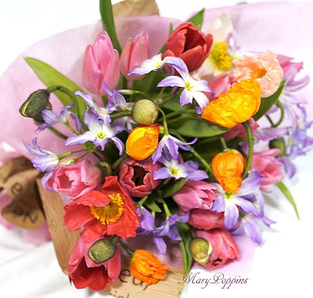 画像1: ポピーとリューココリーネの花束full of color (1)