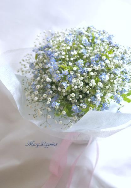 画像1: 忘れな草と、かすみそうの花束 (1)