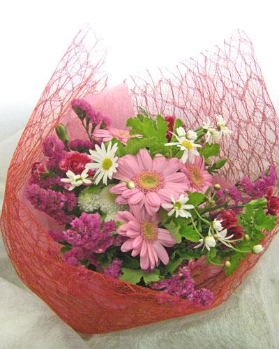 画像1: ガーベラとゼラニウムの花束 (1)