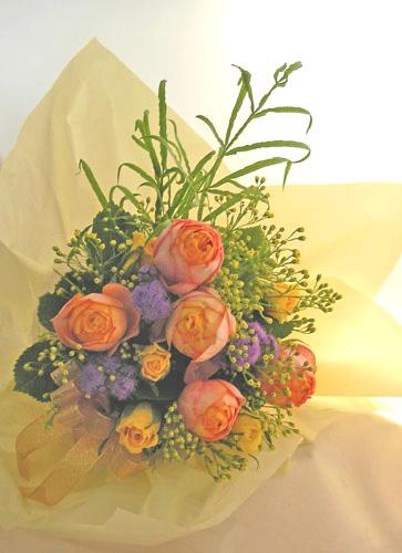 画像1: オレンジのバラの花束〜Orenge-cute (1)