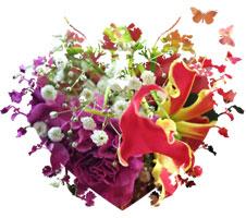 グロリオサとカーネーションの花束〜Robust love