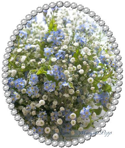 忘れな草とかすみそうの花束