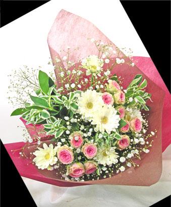 画像1: ミニバラとガーベラの花束 (1)