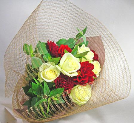 画像1: バラとダリヤの花束 (1)